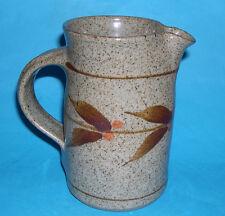 Studio Pottery -Attractive Leaf Design Stoneware Cylinder Body Jug (Clear Mark).