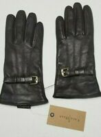 Cole Haan Cashmere Lined Leather Gloves,Chestnut, Small, NWT Bow Buckle $98