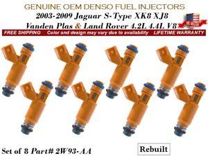 8 Fuel Injectors OEM DENSO 2003-09 Land Rover Jaguar S-Type XK8 XJ8 4.2L 4.4L V8