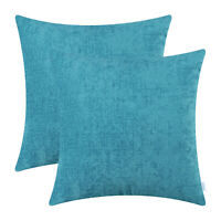 2Pcs Lake Blue Cushion Covers Pillows Shells Cases Solid Dyed Soft Chenille 45cm