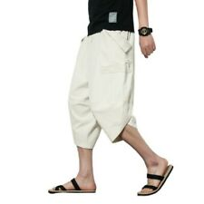 Summer Mens Beach Pants Cropped trousers Baggy Cotton Linen Bloomers Chinese B