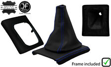 BLUE STITCH LEATHER GEAR BOOT + SURROUND BASE FRAME FOR VW GOLF MK3 JETTA 91-98