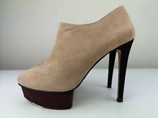ZARA Beige Leather Ladies Women Ankle High Heel Platform Shoe Boot Size 5 38