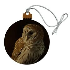 Barred Owl on Tree Branch Wood Christmas Tree Holiday Ornament