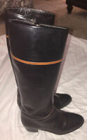 Frank More SANDRA Women's Knee High Brown Black LEATHER Boots Size 7.5 MSRP$350