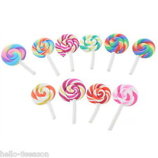 10PCs Mix Resin Lollipop Candy Flatback Scrapbook for Phone DIY Wedding Craft