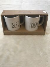 New In Box Rae Dunn Collection White BEST FRIEND Mug Cup Set