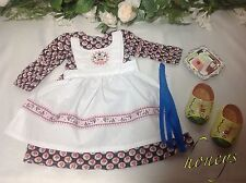 For American Girl KIRSTEN ROSE BAKING DRESS W/APRON & DUTCH SHOES Reproductions