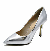 LADIES METALLIC SILVER STILETTO HIGH-HEEL SLIP-ON COURT WORK SMART SHOES UK 3-8