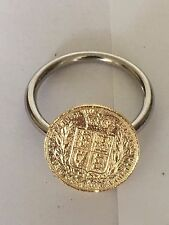 Victorian Soverign Coin WC33 Gold Made From Fine English Pewter on a Scarf Ring