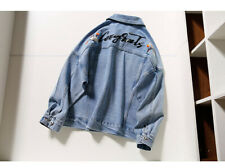 Women's 100% Cotton Oversized Light Blue Embroidered Raw Jean Jacket Size S/M/L