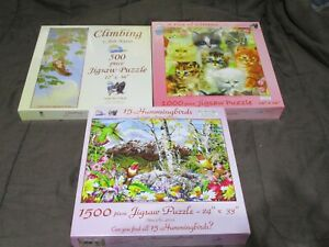 3 Puzzles SEALED SUNSOUT A PILE OF KITTENS / CLIMBING / HUMMINGBIRDS