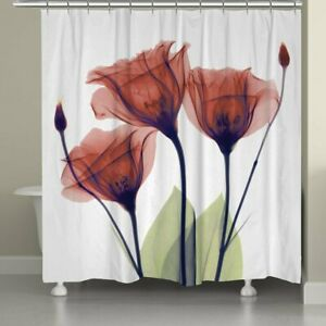 Lotus Red Flower Fabric Waterproof Shower Curtain with 12 Hooks 72 x 72 inch