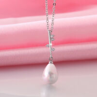 Wholesale 18K White Gold Filled Cubic Zirconia Seashell Pearl Pendant Necklace