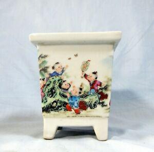 Vintage famille rose porcelain flower bonsai pot planter children  circa 1950s
