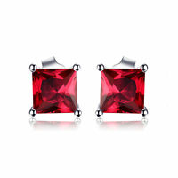 5mm 1.6ct Stunning Square Created Ruby Solid Sterling Silver Stud Earrings Gift