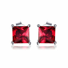 5mm Square Christmas Created Ruby Solid Sterling Silver Stud Earrings Gift