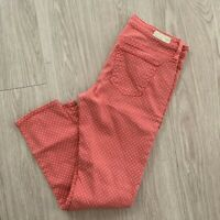 AG Adriano Goldschmied Jeans 29 Stevie Ankle Slim Straight Coral Polka Dot Print