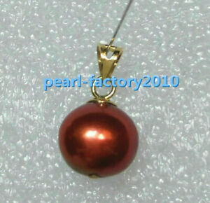 Brown red   9-10 mm 14k gold  pearl  south sea pendant