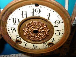 Vintage Beveled Porcelain Clock Face Dial Brass Glass Door Faux Jeweled Part