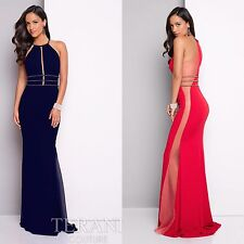 TERANI COUTURE Navy Gold Iridescent Beaded Side Illusion Halter Gown Dress 12
