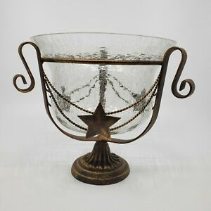 NEW Rustic Metal Western Style Texas Star Crackle Glass Decorative Bowl