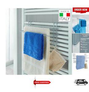 Double Towel Rail Over The Door or Bathroom Radiator Towel Holder Hanger Silver