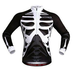Men Cycling Clothing Black White Patterned Comfortable Long-sleeved Full Zipper