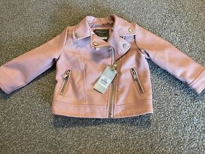 Baby Girls BNWT Pink Leather Look Jacket 9-12 Months