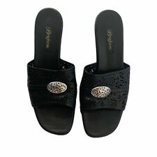 Brighton Womens River Slide Sandal Shoes Black Leather Slip On Round Toe Low 9 M