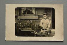 R&L Postcard: Portrait of Boy Cub Scout? with Toy Horse & Cart, Sheffield?