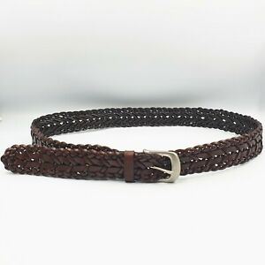 Womens Size M/L Brown Woven Leather Medium Width Hip Waist Belt Adjusts to 105cm