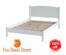 """Framed Bed Double White 4ft 6"""" Pine White Painted Low Foot End Bedroom Furniture"""