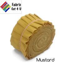 "20 x 2.5"" Mustard Yellow Jelly Roll PreCut Fabric Strips, 2.5 in x WOF, Die Cut"