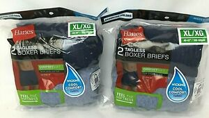 2 - 2 Packs Hanes Boxer Briefs XL Mens Underwear Tagless Comfort Soft Waistband