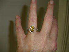 BOUTON OF FRANCE ENGAGEMENT RING SIZE K SILVER METAL WORN ONCE YELLOW AND WHITE