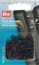 Prym Haken und Augen 12 Paar No 9 schwarz Verschluß Öse Joppenhaken   261458