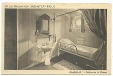 "SHIPPING - Navigation Sud-Atlantique ""MASSILA""  FIRST CLASS CABIN Postcard"