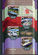 Sao Tome & Principe 2015 MNH Japanese High Speed Trains 4v M/S Shinkansen