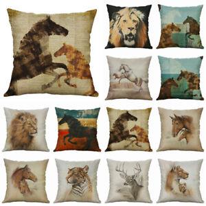 Pillow Case Cotton Tiger Decor Cushion For Home Sofa Linen Horse Cover Animal