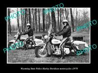OLD POSTCARD SIZE PHOTO OF WYOMING POLICE HARLEY DAVIDSON MOTORCYCLES c1970