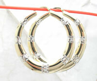 Technibond Large Diamond Cut Round Hoop Earrings 14K Yellow Gold Clad Silver