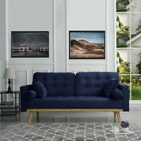Mid-Century Modern Sofa Tufted Velvet Navy Blue Sofa with 4 Pillows