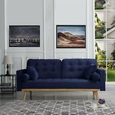 Mid-Century Modern Sofa Tufted Velvet Navy Blue Sofa with 4 Pillows