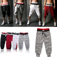 Mens 3/4 Knee Length Casual Jogger Sport Shorts Baggy Harem Pants Trousers M-2XL
