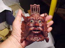 Hand Craved Wooden Oriental Mythical Mask w/Glass Eyes