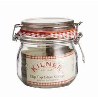 NEW ROUND GLASS JAR WITH CLIP TOP & SEAL 0.5L JAM PRESERVES STORAGE KILNER .490
