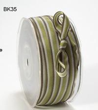 3/8 Inch Grosgrain Striped Ribbon –Lt. Green/Dk. Green - BK35- 5 yds