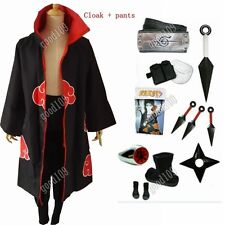 Naruto Akatsuki cloak Uchiha Itachi Cosplay Costume and Naruto pants full set