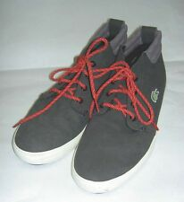 LACOSTE Men's Ampthill Terra SNM Fashion Sneaker Black Red Lace Shoes New US 9.5